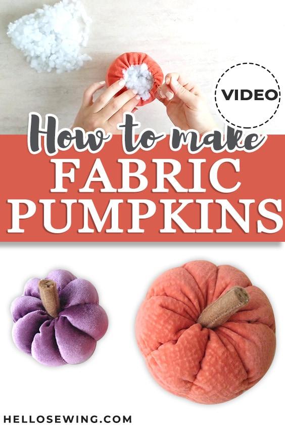 How to make fabric pumpkins Pinerest pin