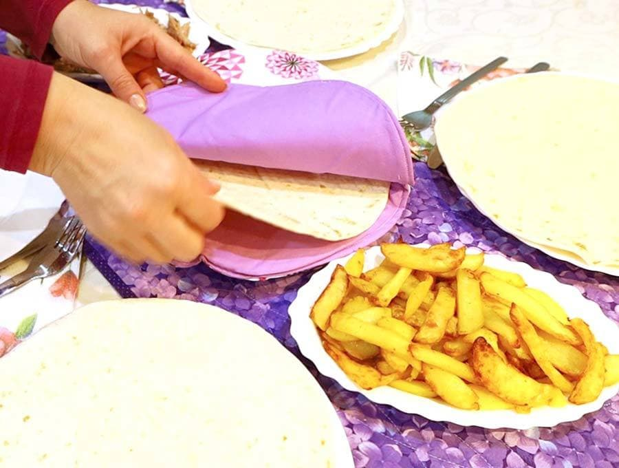diy tortilla warmer in use
