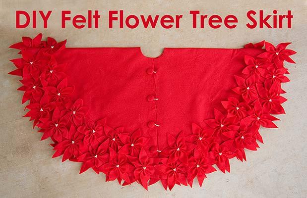 chstimas tree skirt with felt flowers