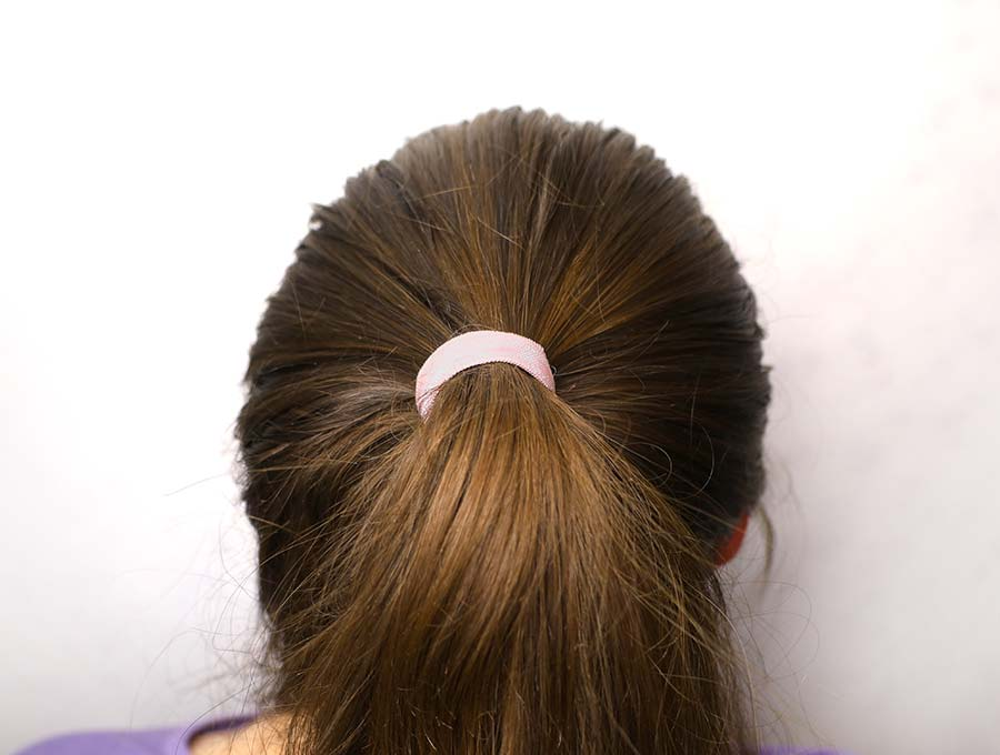 fold over elastic hair tie in use