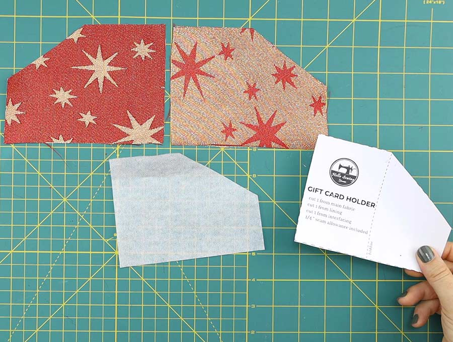 gift card holder template trimmed to cut the interfacing