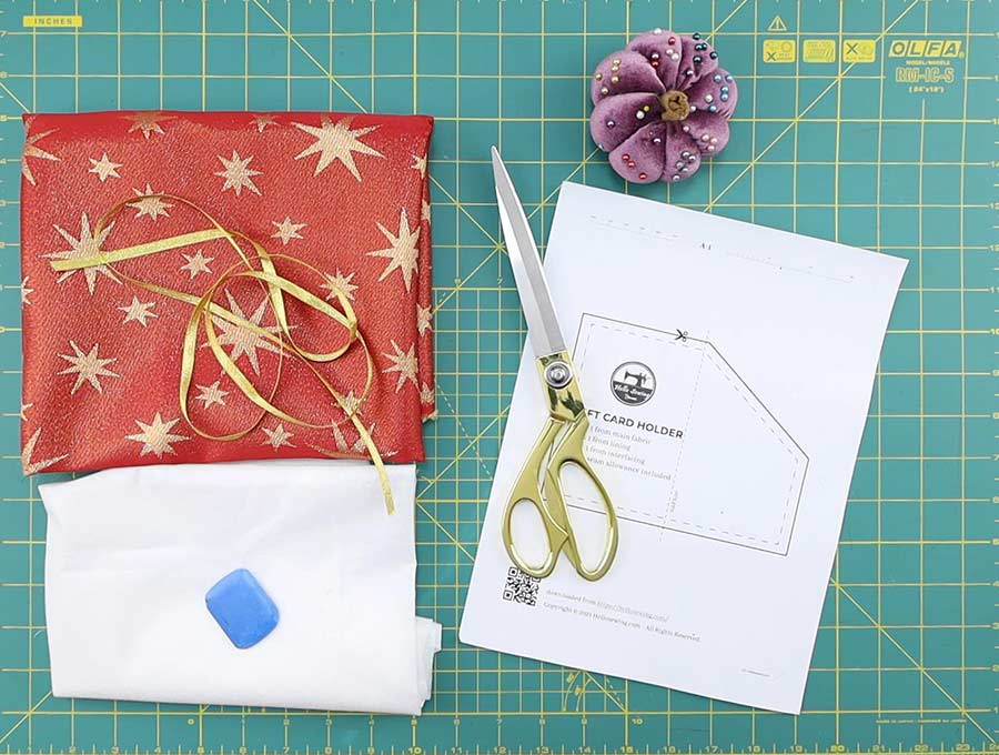 gift card holder template and supplies