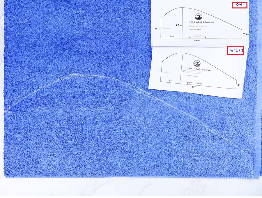 hair towel wrap pattern in inches or centimeters on bath towel