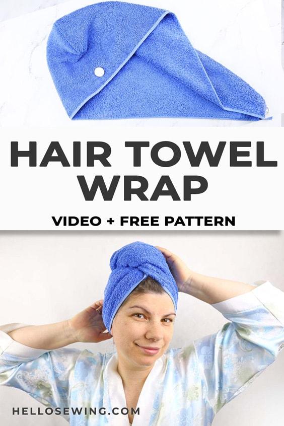 Hair towel wrap DIY - video and pattern