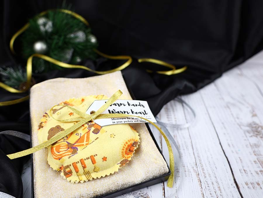 homemade reusable hand warmers in a gift box