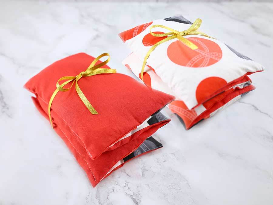 homemade rice heating pads as gifts