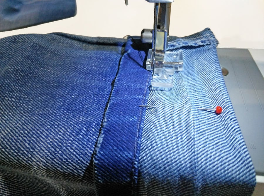 how to hem jeans and keep the original stitching
