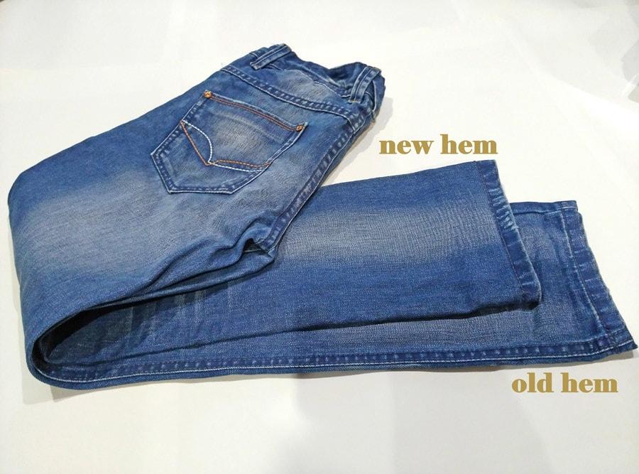 old hem vs new jeans hem after shortening