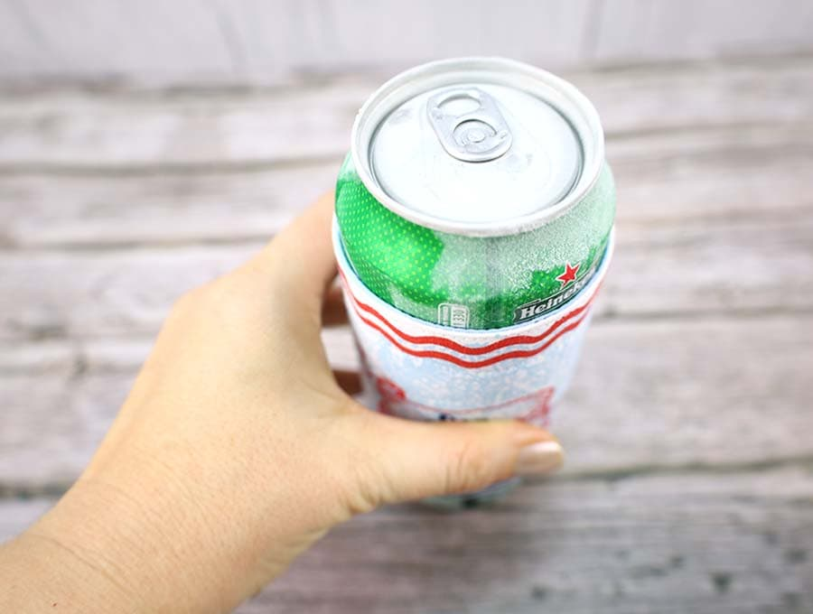 Ice cold beer in a diy insulated beverage holder