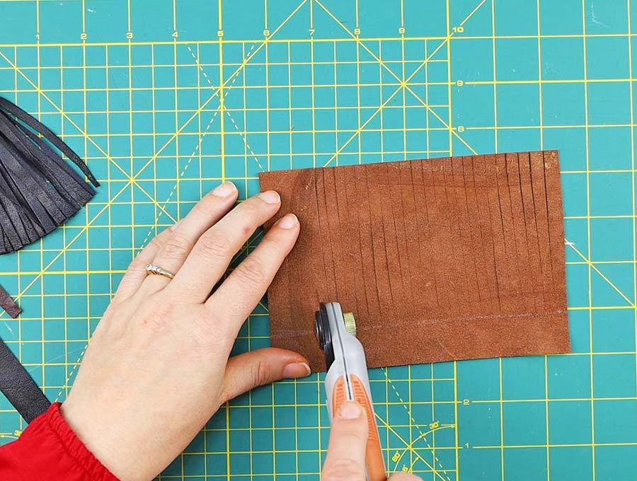 making the leather tassel - cutting the fringe