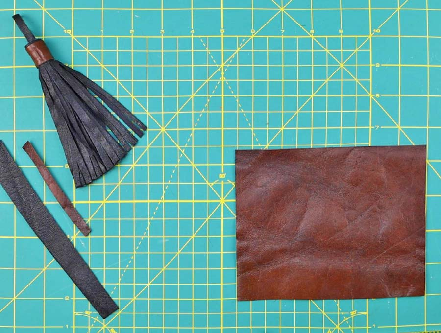 cut a piece of leather or faux leather for the leather tassel