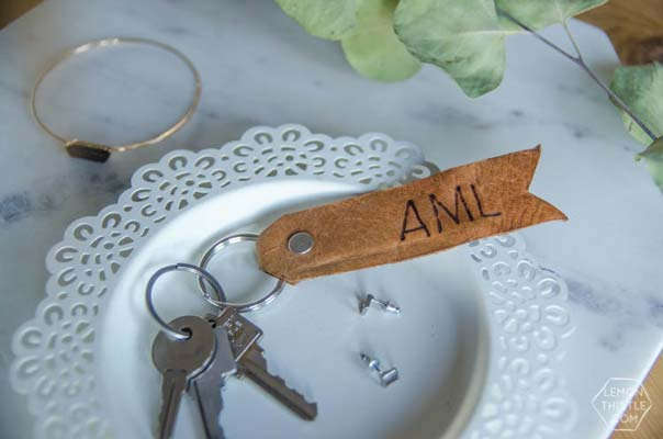 leather keychain DIY Father's day gifts