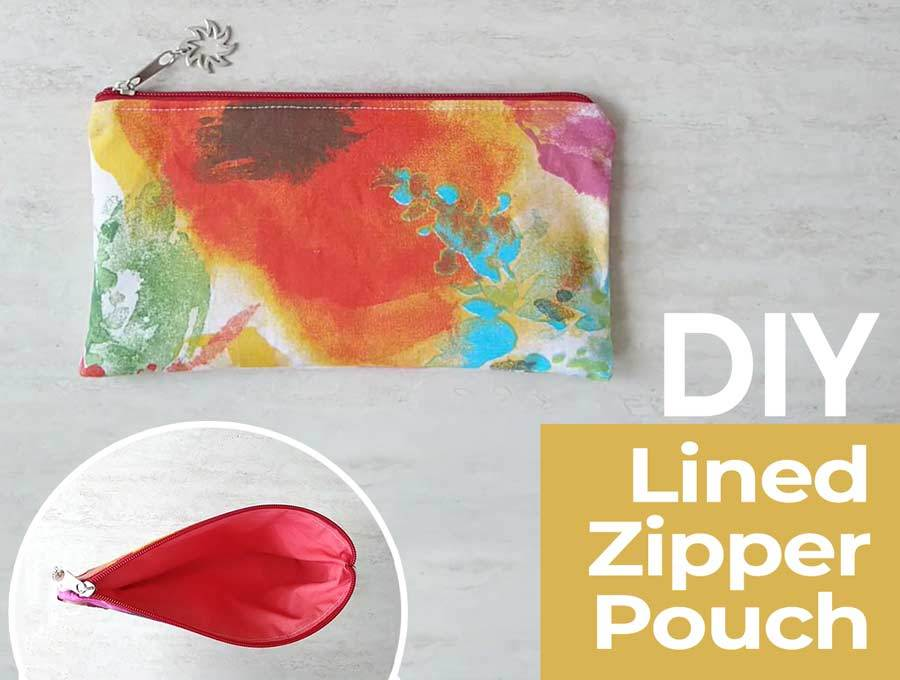 DIY Zipper pouch with lining tutorial