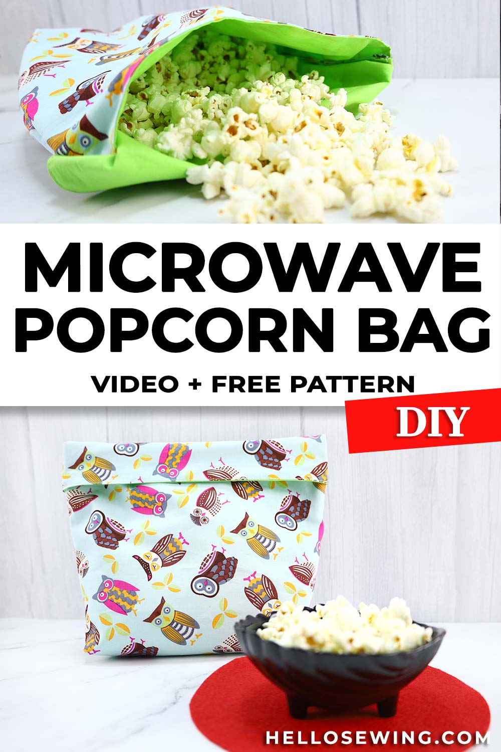 How to sew a microwave popcorn bag