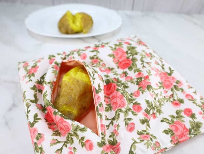 microwave potato bag tutorial and instructions how to make it
