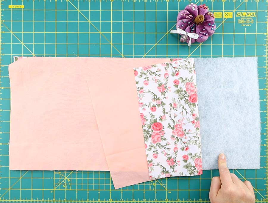 microwave potato bag - how to stack the fabrics before sewing
