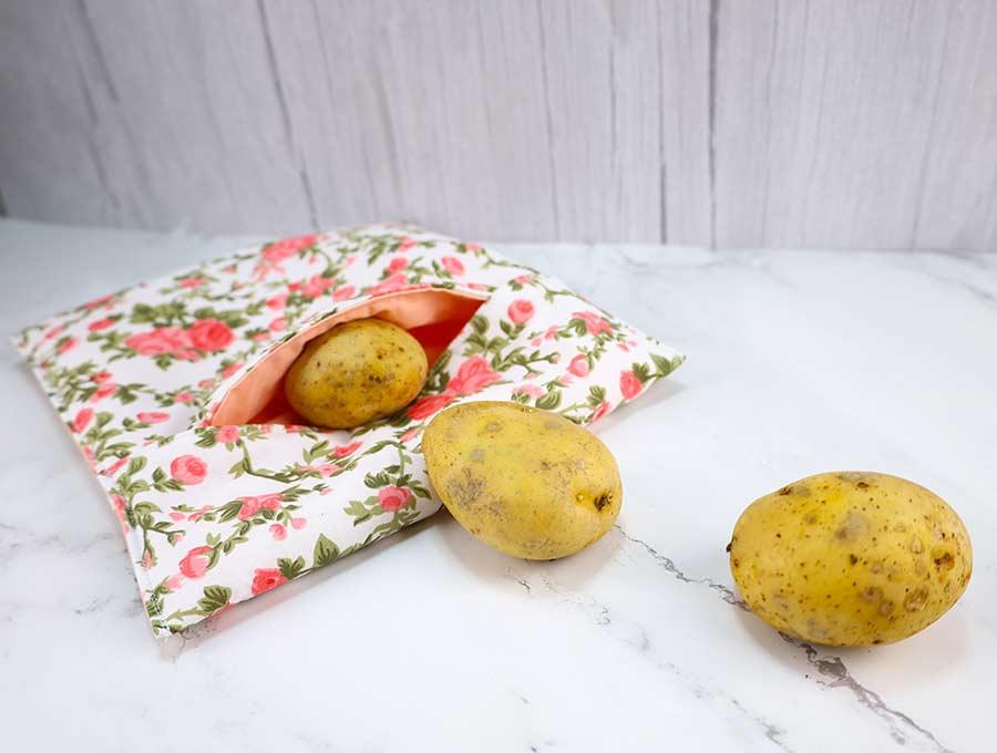 microwave potato bag with 3 potatoes