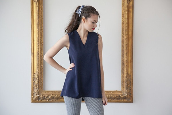classic sleeveless tunic with a v neck