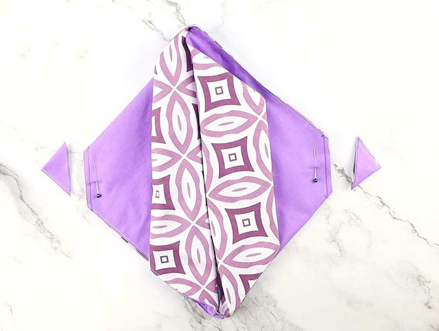 cut corners of the origami bag