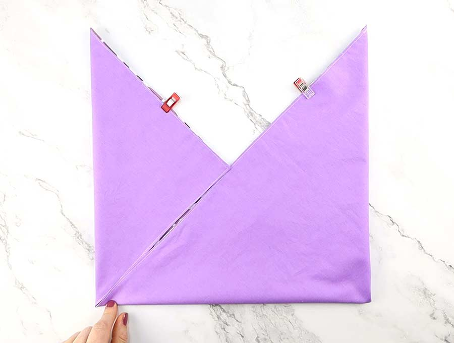 origami bag folded across the diagonal
