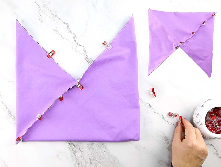 pinned diagonals of the origami and bento bags