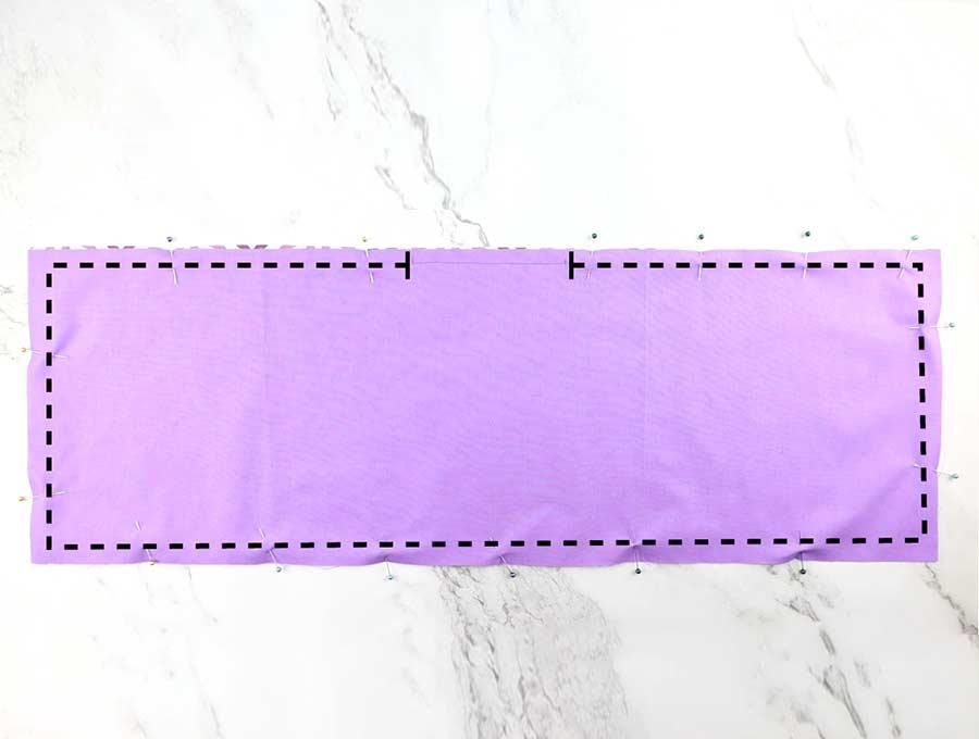 stitching around the bento bag fabrics