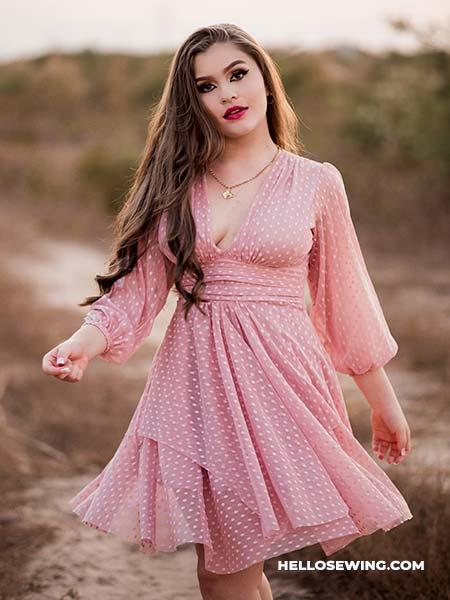 paneled waist dress