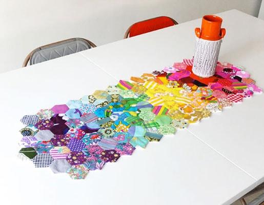 patchwork hexagon table runner pattern