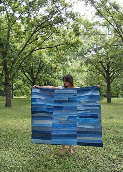 full sized quilt out of old jeans