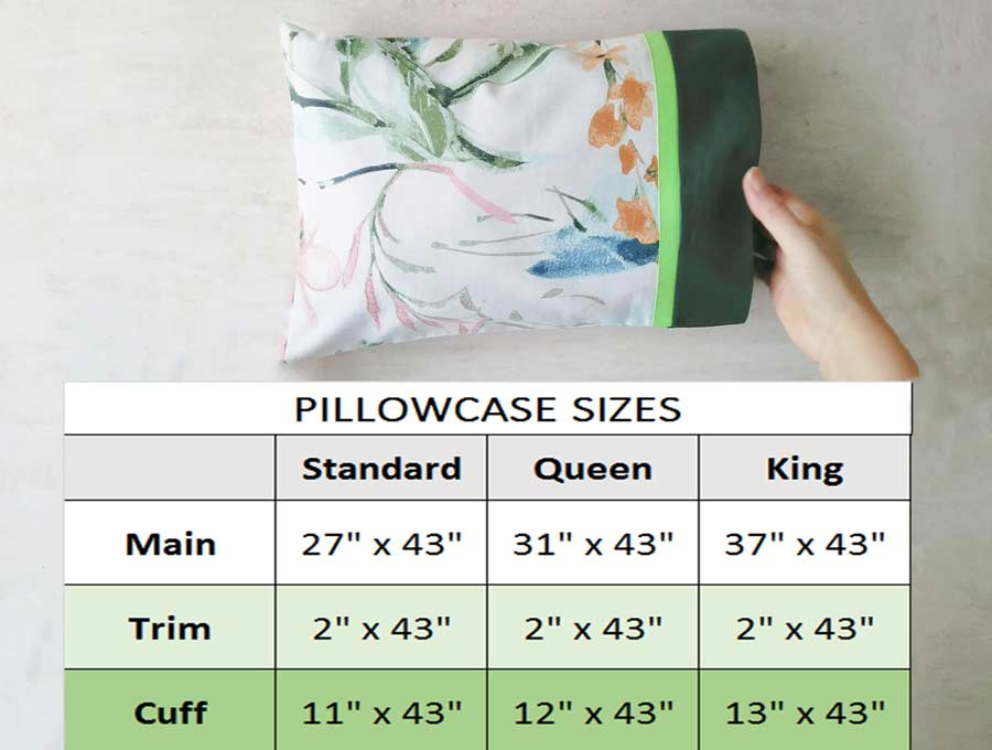 pillowcase pattern measurements and fabric sizes to cut