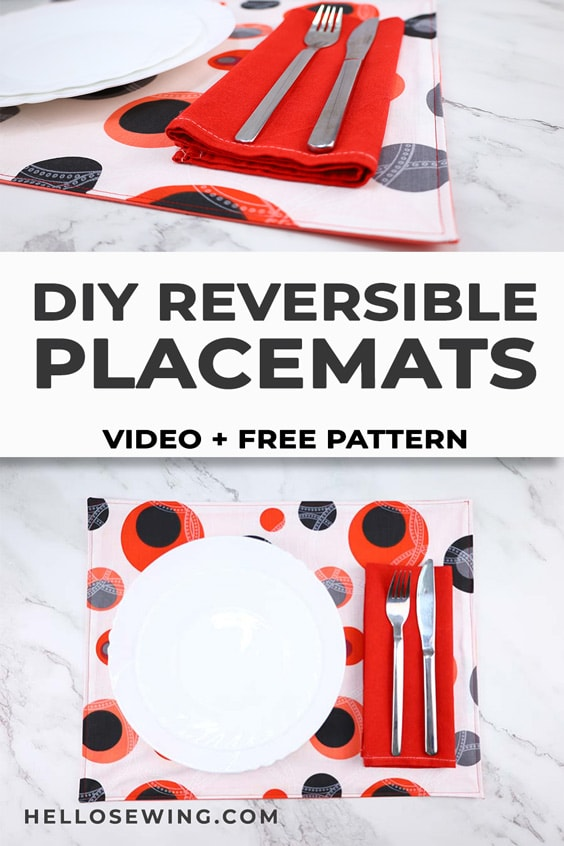 DIY Reversible placemat - how to sew placemats from fabric