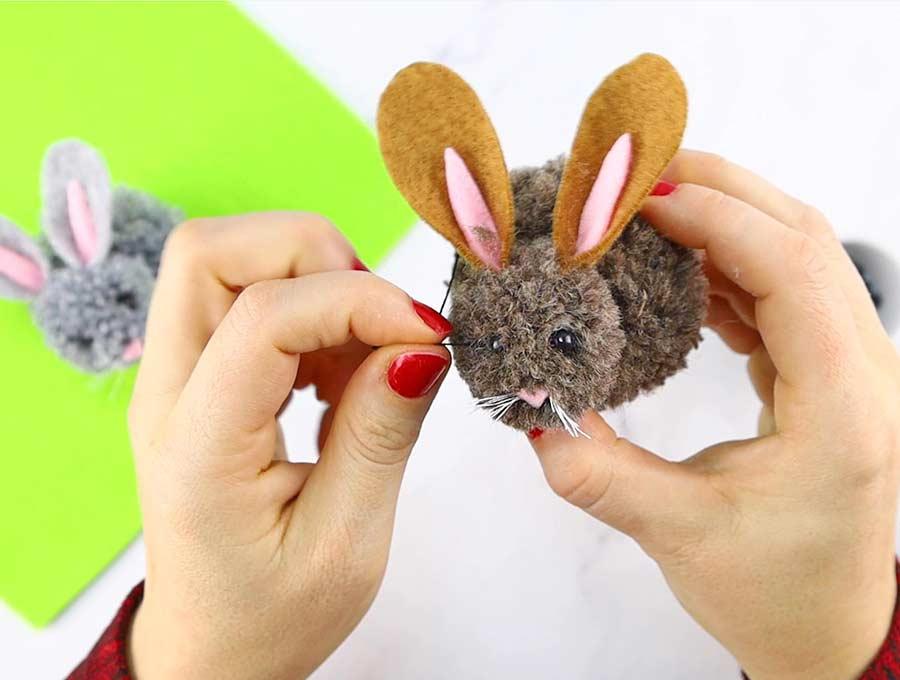 pom pom bunny attach eyes