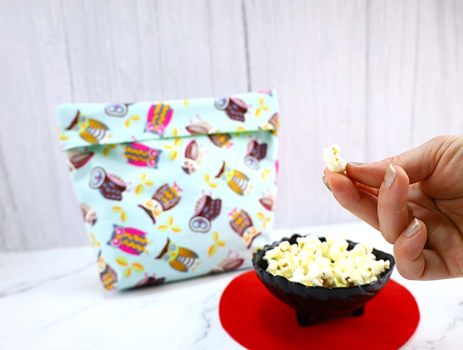popcorn made in a reusable popcorn bag