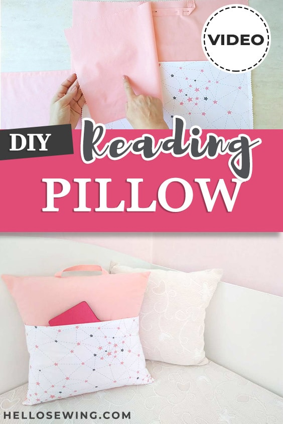 How to make a reading pillow with pocket - DIY book pillow tutorial and video
