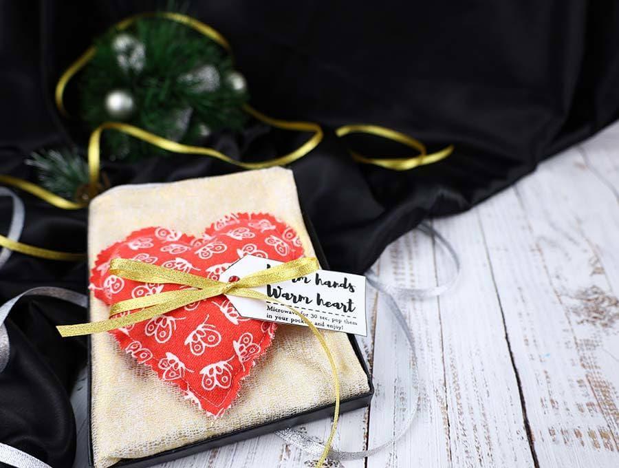 reusable hand warmer with gift tag