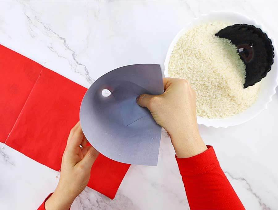 making small funnel to fill rice heating pad