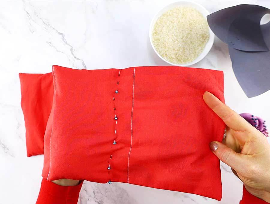 rice heating pad with a second row of pins