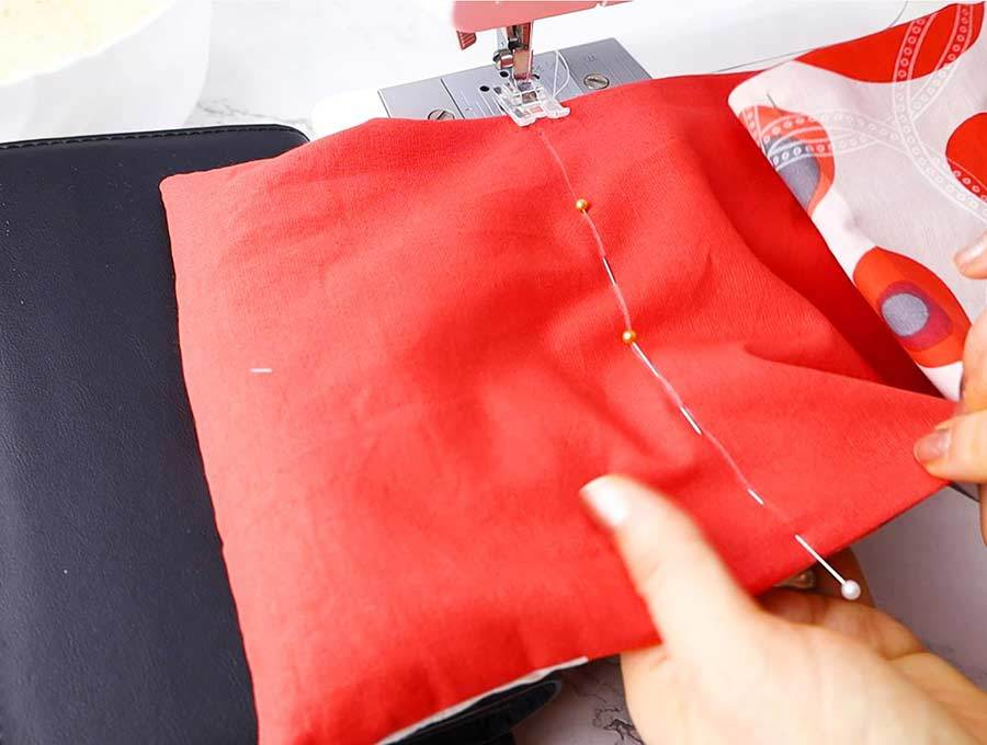 sewing the first compartment of the rice heating pad