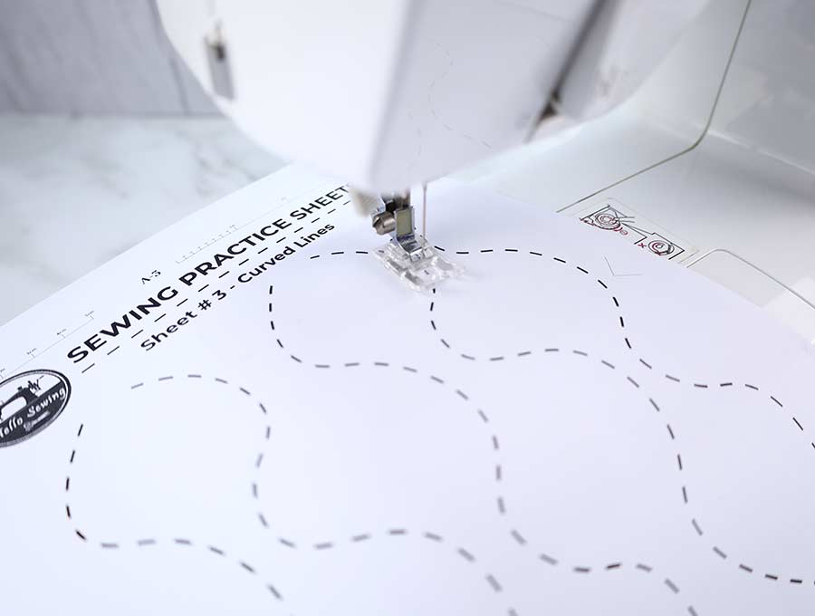 sewing practice sheets #3 - curved lines