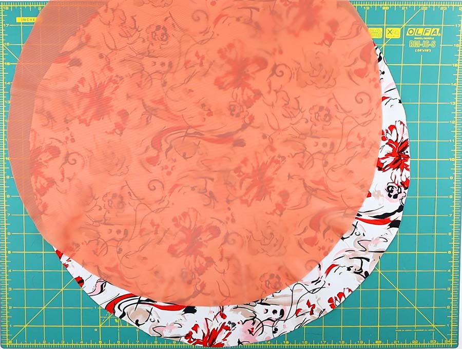 making of the diy shower cap - cut lining according to the shower cap pattern