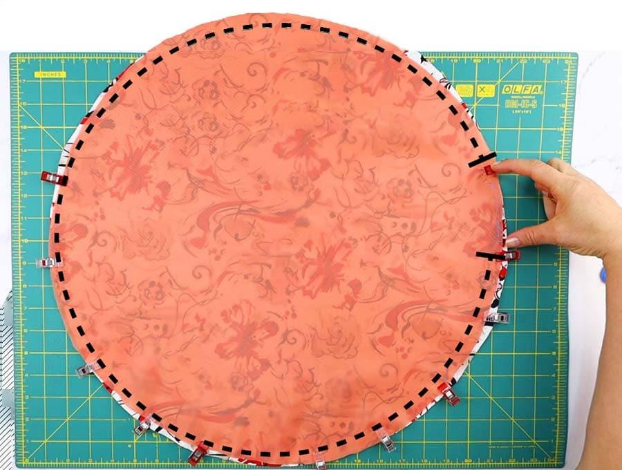sew around the homemade shower cap