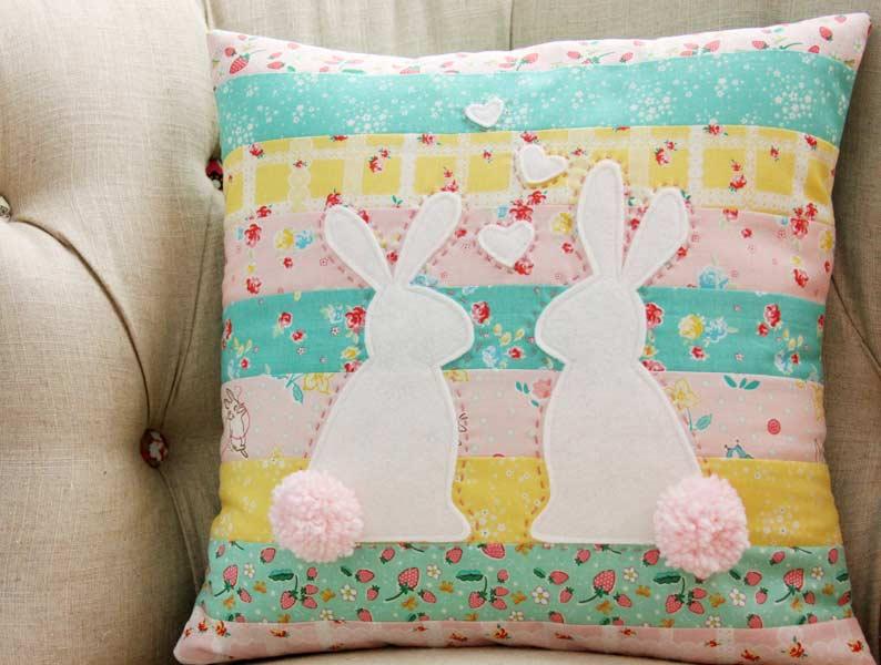 bunnies in love pillow