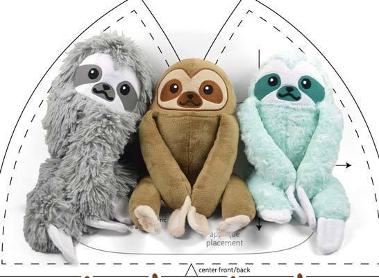 free stuffed sloth sewing pattern