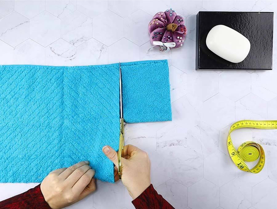 cutting washcloth to make soap holder pouch