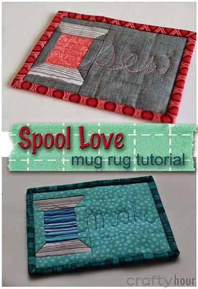 spool love mug rug