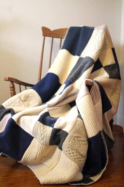 repurposed sweater blanket