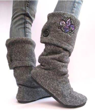 recycled sweater boots
