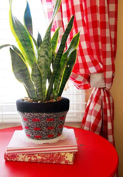 sweater covered flower pot
