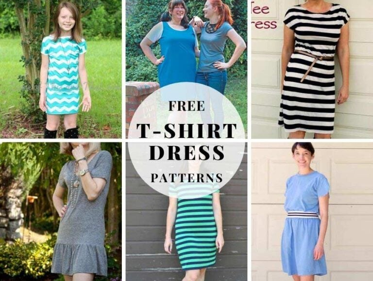 8 Free T-shirt Dress Sewing Patterns You Can Make in 1 hour
