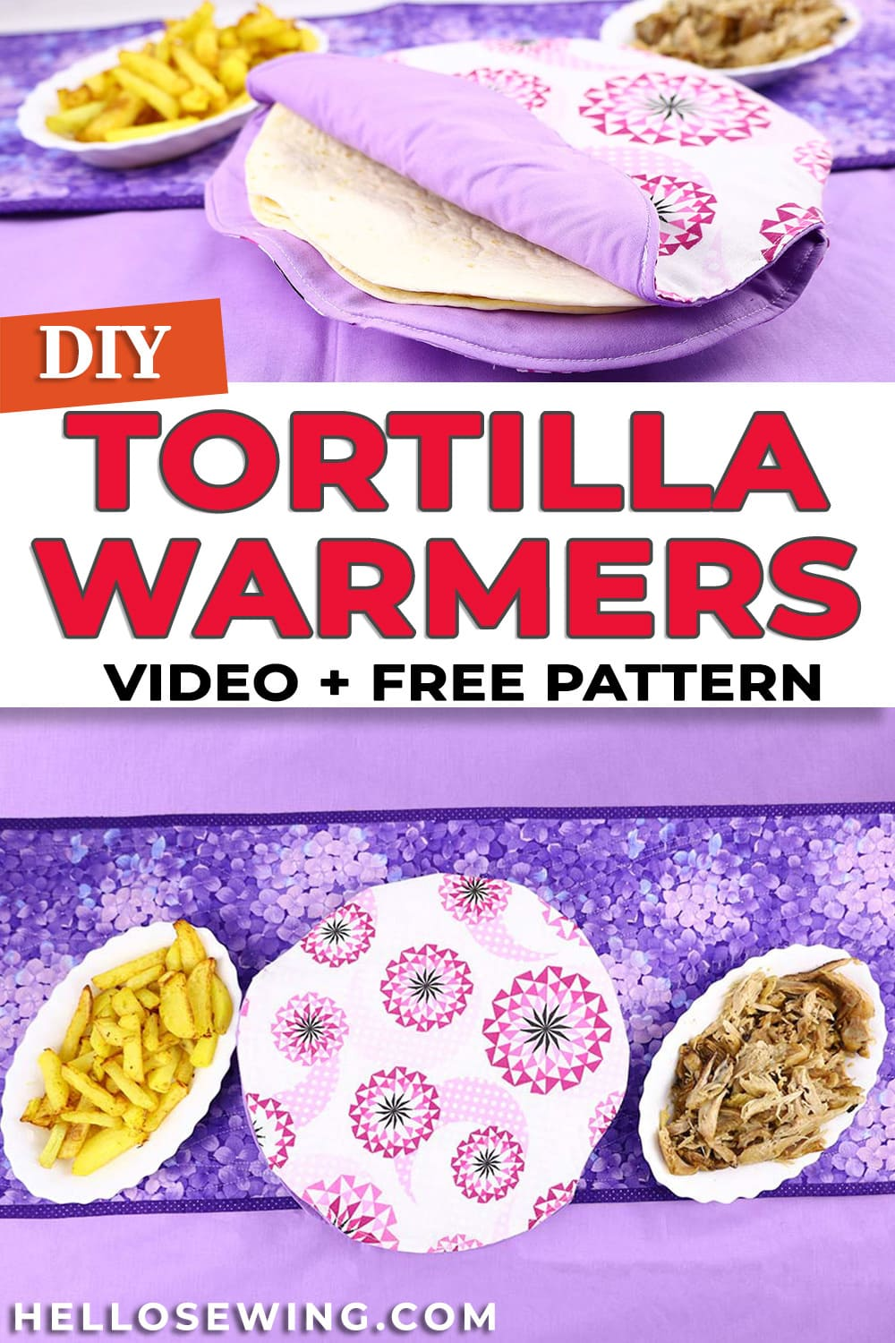 How to make a tortilla warmer pattern and tutorial
